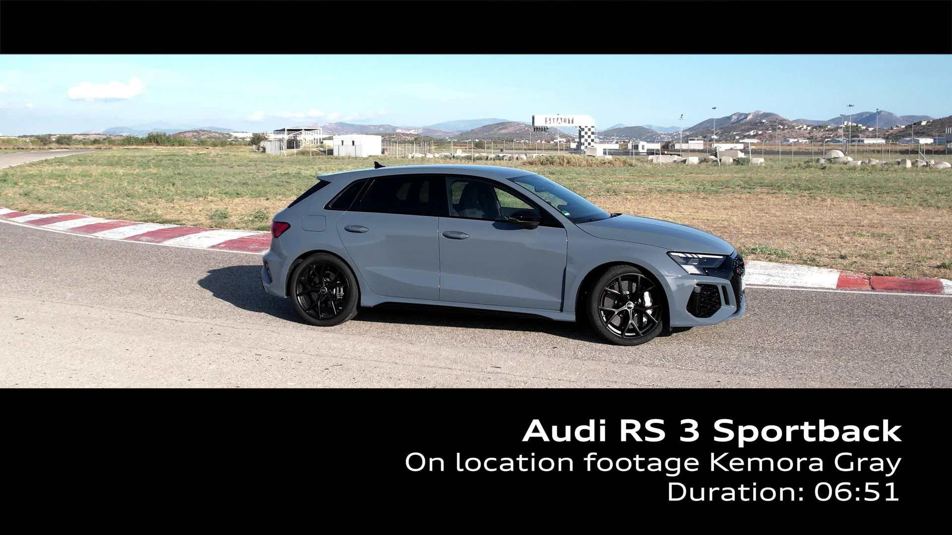 Footage: Audi RS 3 Sportback Kemoragrau auf der Rennstrecke