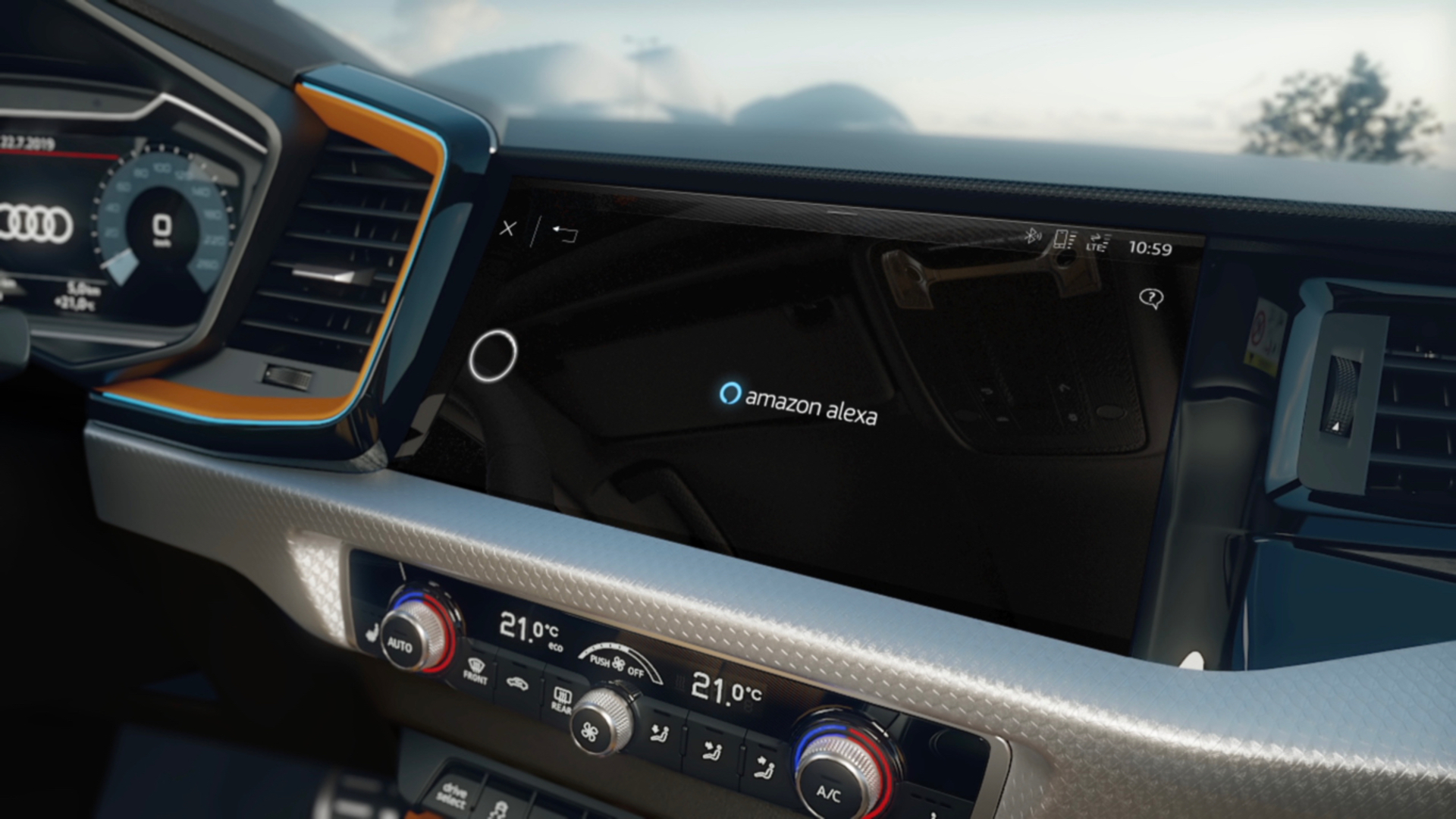 Audi A1 citycarver driver assistance systems and Alexa (Animation)