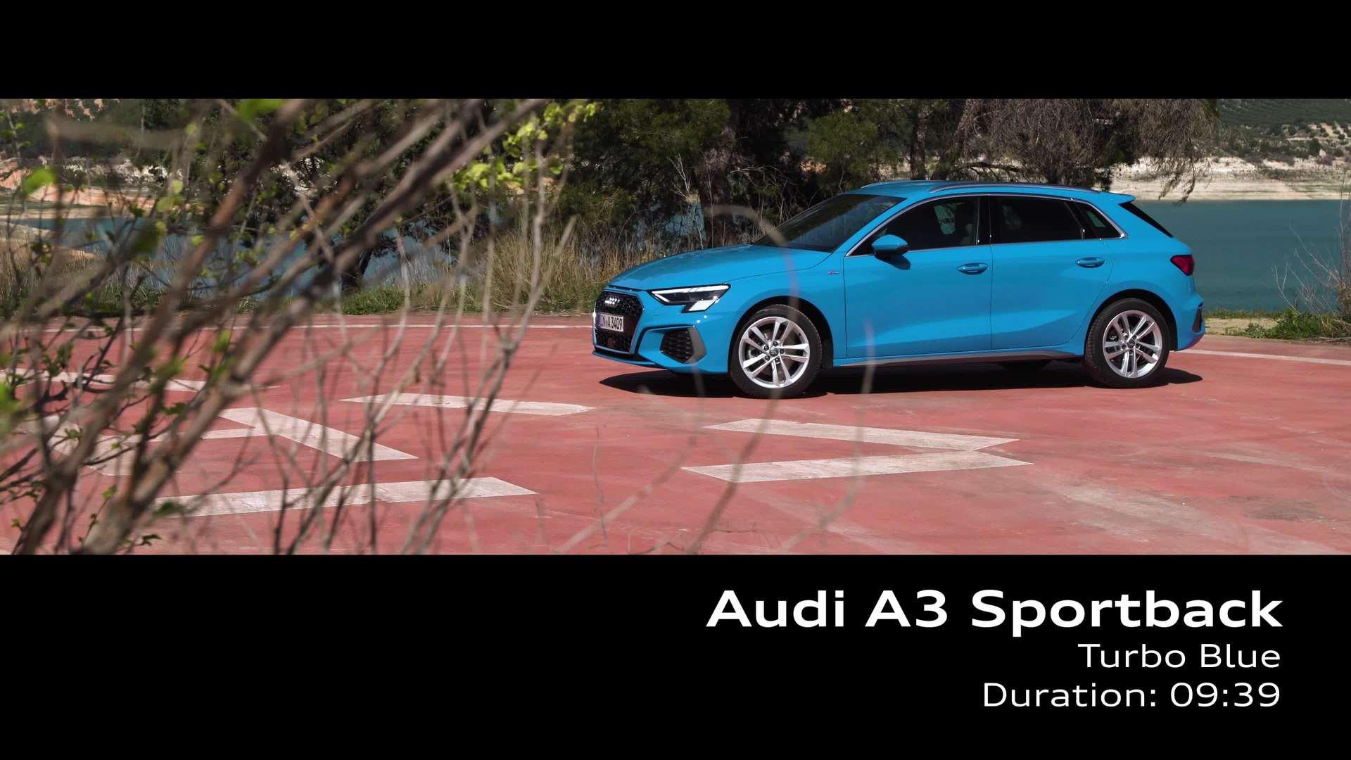 Audi A3 Sportback on location - turbo blue (Footage)