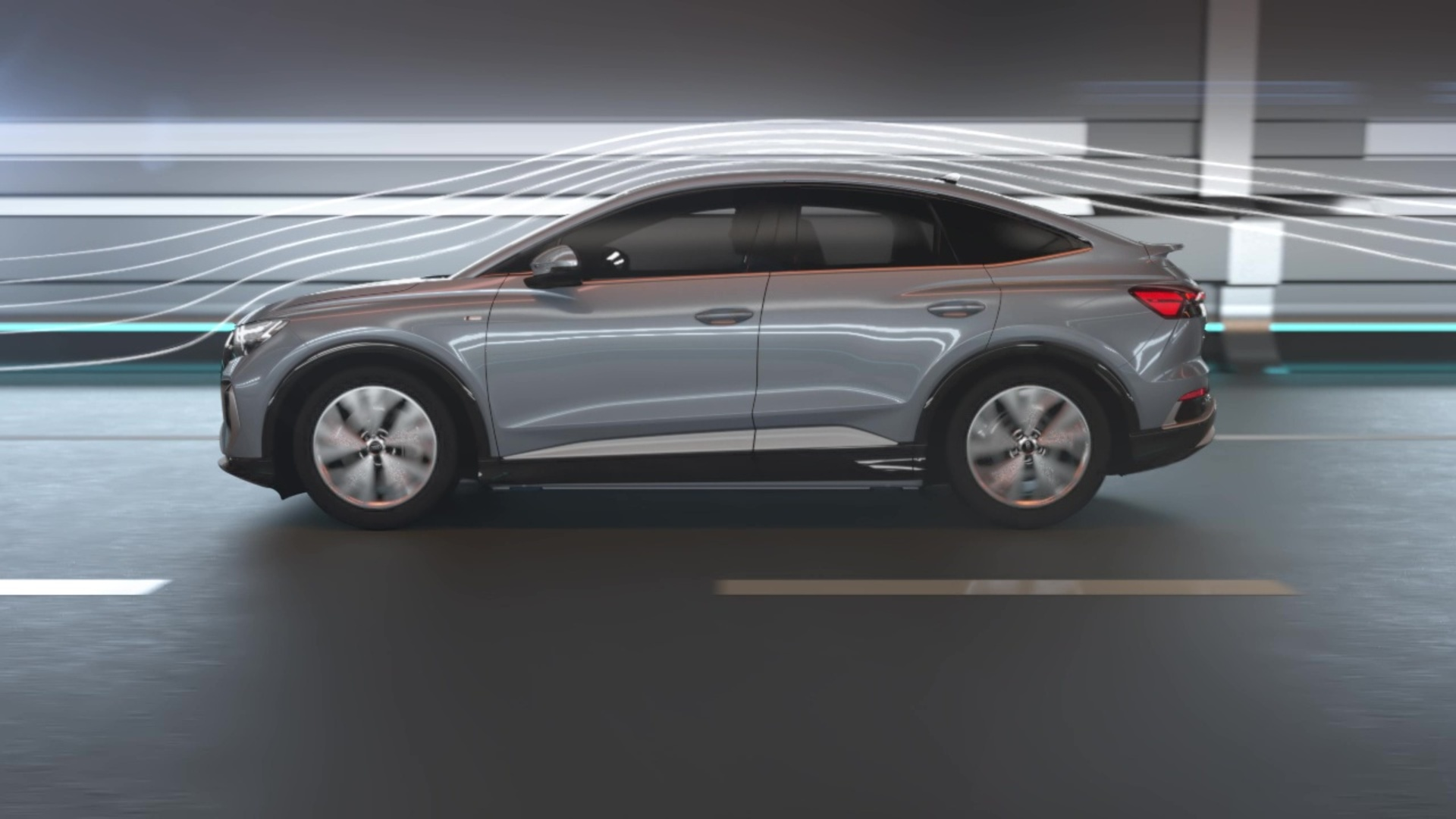 Animation: Aerodynamics of the Audi Q4 Sportback e-tron