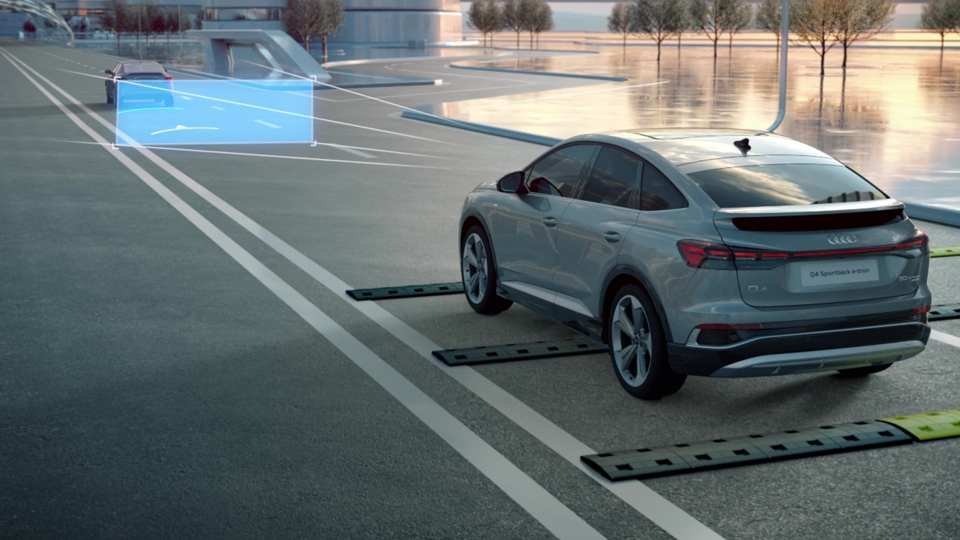 Animation: Audi Q4 Sportback e-tron – Augmented Reality Head-Up-Display