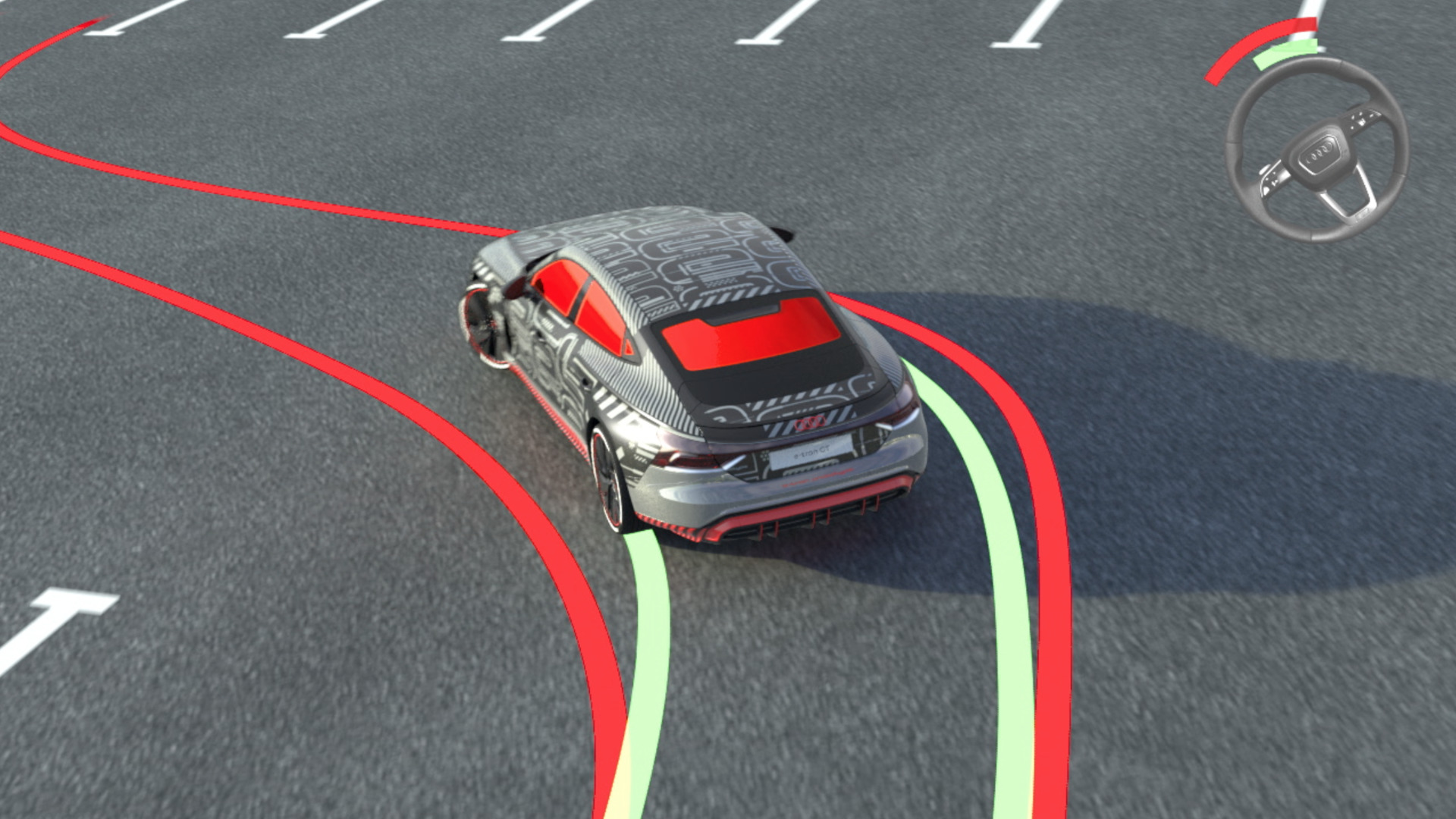 Animation: Audi e-tron GT prototype – Three-chamber air suspension and all-wheel steering